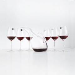 Vinocave红酒杯套装 红酒杯6支+天鹅醒酒器 520ml